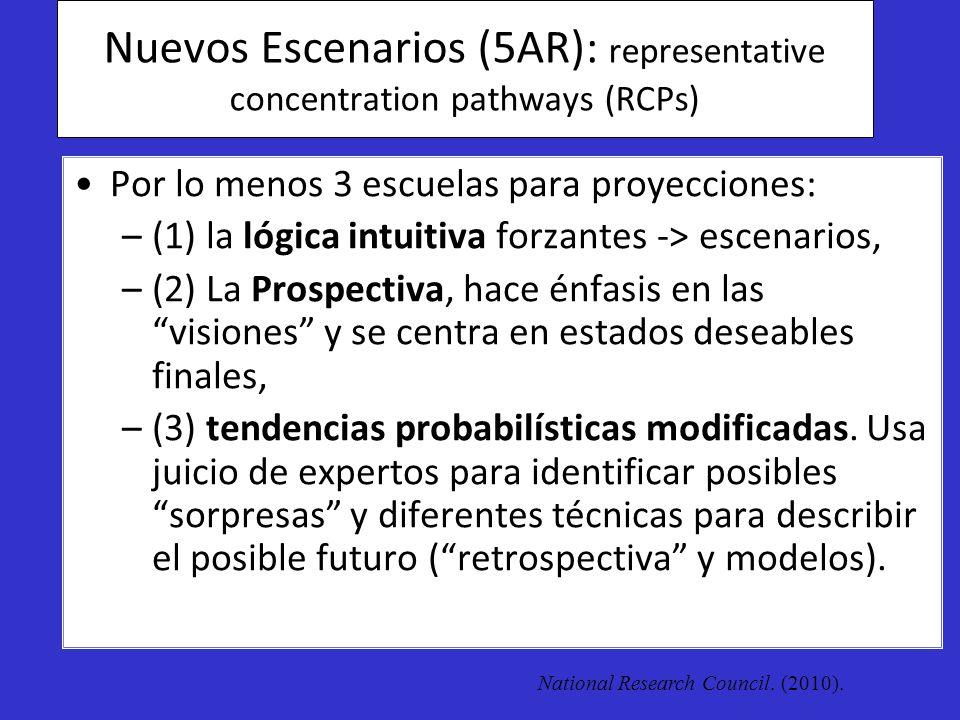 Nuevos Escenarios (5AR): representative concentration pathways (RCPs) Por lo menos 3 escuelas para proyecciones: –(1) la lógica intuitiva forzantes ->