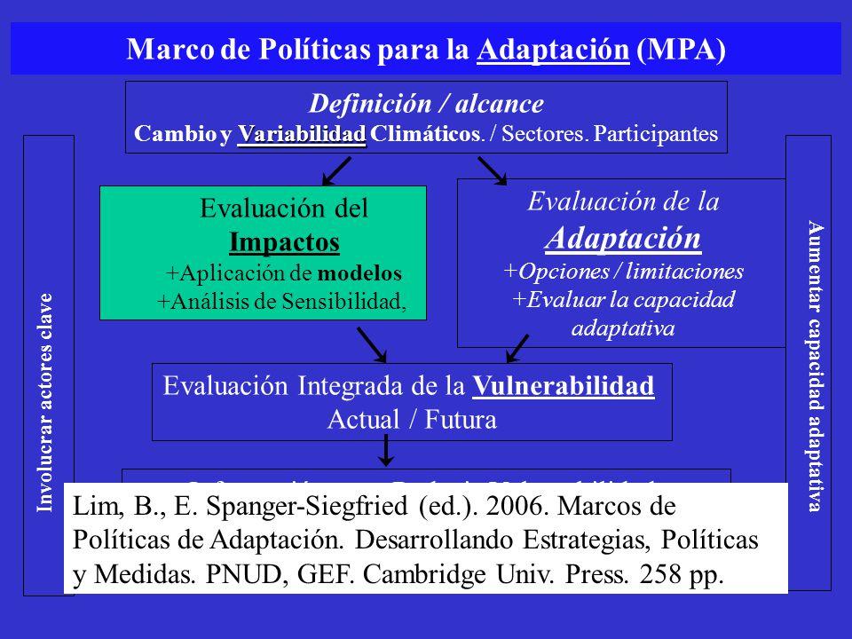 Definición / alcance Variabilidad Cambio y Variabilidad Climáticos. / Sectores. Participantes Evaluación del Impactos +Aplicación de modelos +Análisis