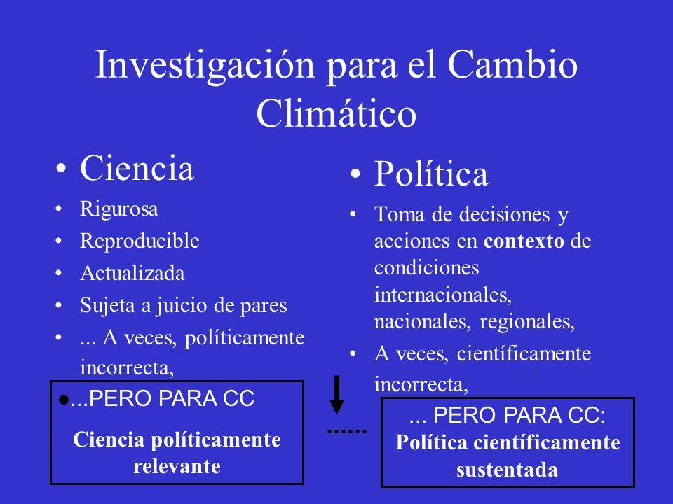 Investigación para el Cambio Climático Ciencia Rigurosa Reproducible Actualizada Sujeta a juicio de pares... A veces, políticamente incorrecta, Políti