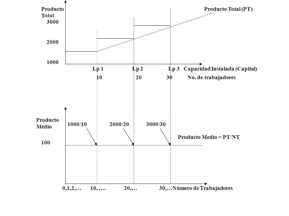 Producto Total Lp 1 Lp 2 Lp 3 Capacidad Instalada (Capital) 10 20 30 No. de trabajadores 3000 2000 1000 Producto Total (PT) Producto Medio = PT/NT 0,1