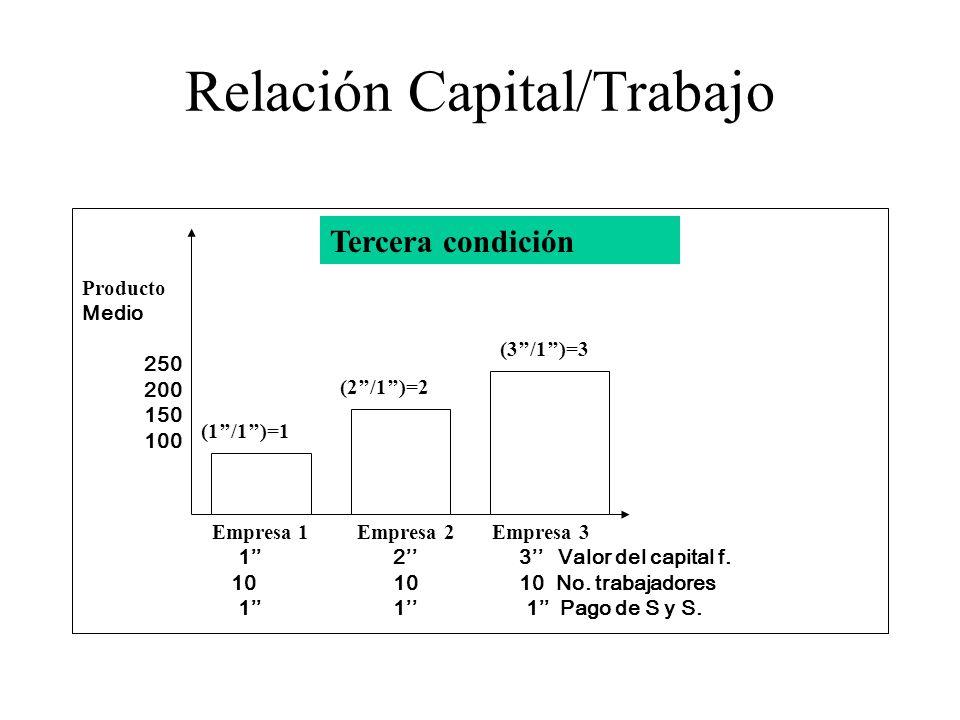 Relación Capital/Trabajo Empresa 1 Empresa 2 Empresa 3 12 3 Valor del capital f. 1010 10 No. trabajadores 11 1 Pago de S y S. Producto Medio 250 200 1