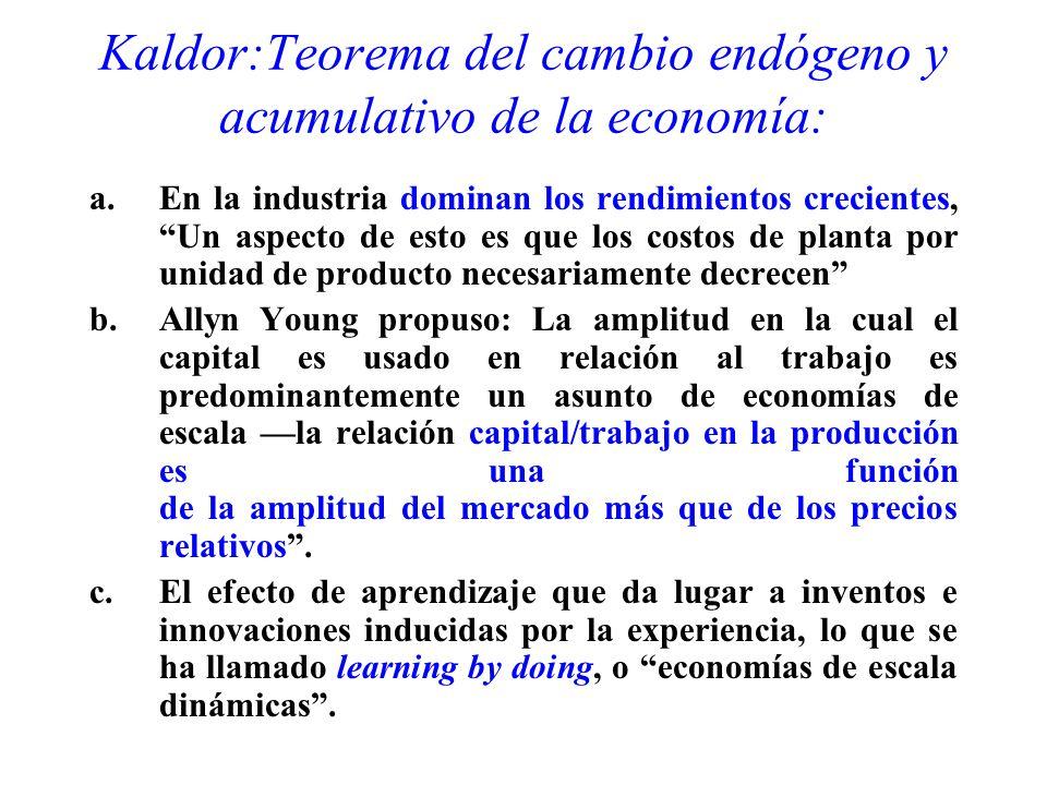Kaldor:Teorema del cambio endógeno y acumulativo de la economía: a.En la industria dominan los rendimientos crecientes, Un aspecto de esto es que los