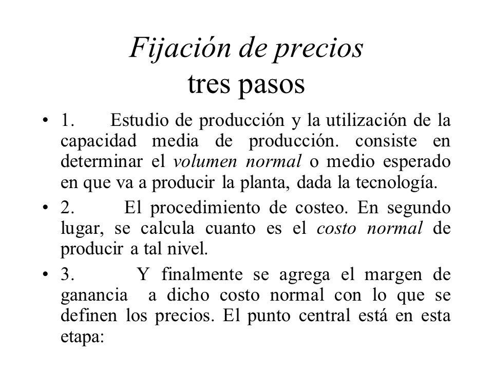 Fijación de precios tres pasos 1. Estudio de producción y la utilización de la capacidad media de producción. consiste en determinar el volumen normal
