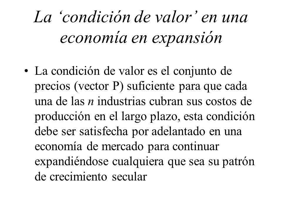 La condición de valor en una economía en expansión La condición de valor es el conjunto de precios (vector P) suficiente para que cada una de las n in