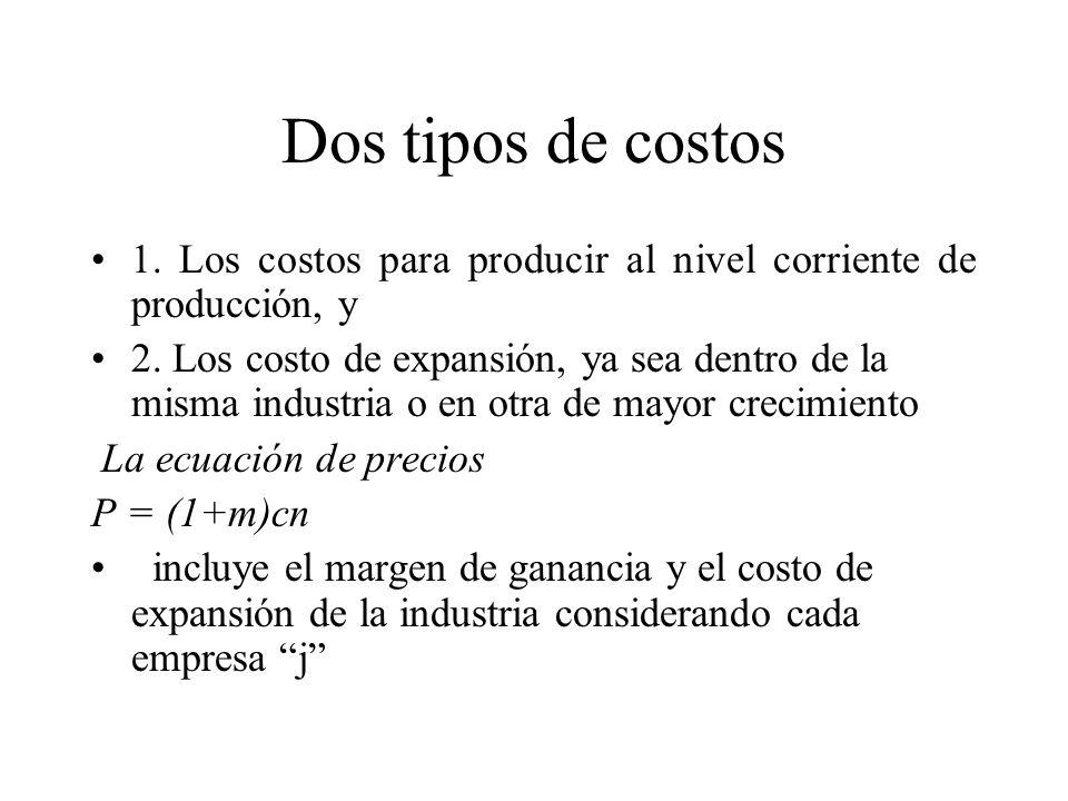 Dos tipos de costos 1. Los costos para producir al nivel corriente de producción, y 2. Los costo de expansión, ya sea dentro de la misma industria o e