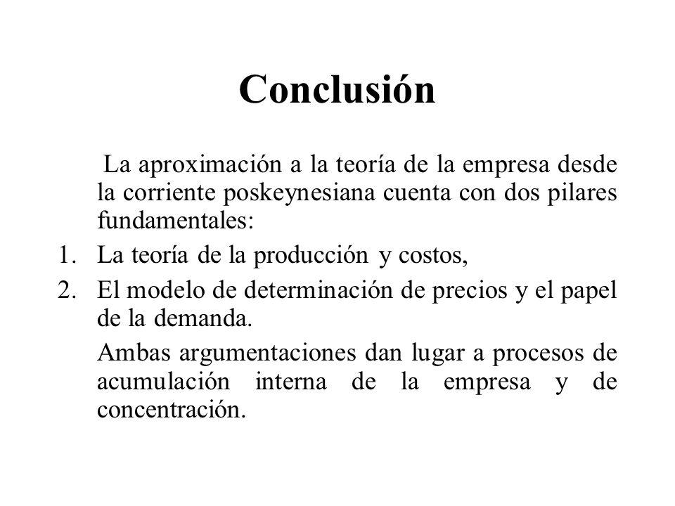 Conclusión La aproximación a la teoría de la empresa desde la corriente poskeynesiana cuenta con dos pilares fundamentales: 1.La teoría de la producci