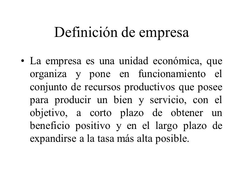 Definición de empresa La empresa es una unidad económica, que organiza y pone en funcionamiento el conjunto de recursos productivos que posee para pro
