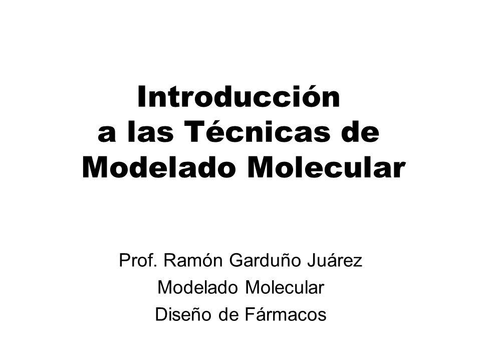 Introducción a las Técnicas de Modelado Molecular Minimización Molecular Revisión del Proceso El potencial molecular U depende de dos tipos de variables: El gradiente de la energía potencial g(Q), es un vector con 3N componentes: La condición necesaria para un mínimo es que el gradiente de la función sea cero: Donde xi denota las coordenadas Cartesianas atómicas y N es el número de átomos or Una medida de la distancia de un punto estacionario es el gradiente de rms: La condición suficiente para un mínimo es que la matriz de la segunda derivada sea positiva definida, i.e.