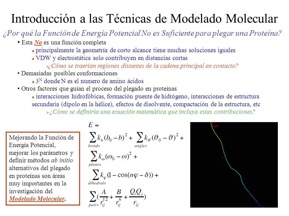 Introducción a las Técnicas de Modelado Molecular ¿Por qué la Función de Energía Potencial No es Suficiente para plegar una Proteína.