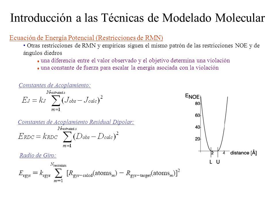 Introducción a las Técnicas de Modelado Molecular Ecuación de Energía Potencial (Restricciones de RMN) Otras restricciones de RMN y empíricas siguen e