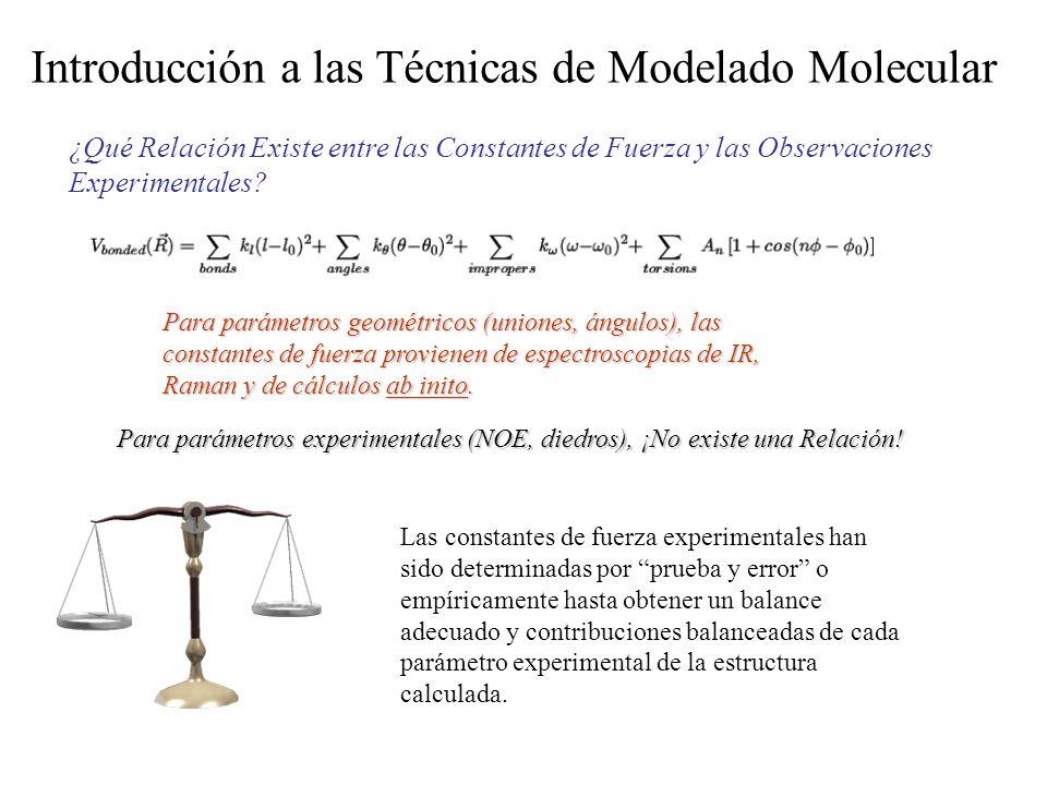 Introducción a las Técnicas de Modelado Molecular ¿Qué Relación Existe entre las Constantes de Fuerza y las Observaciones Experimentales? Para parámet