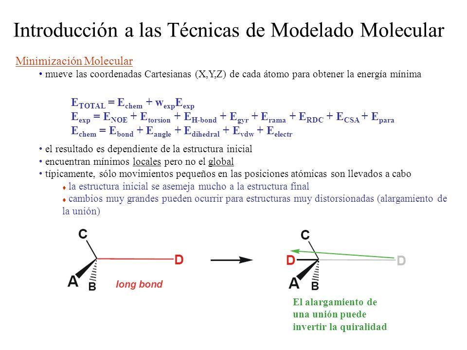 Introducción a las Técnicas de Modelado Molecular Minimización Molecular mueve las coordenadas Cartesianas (X,Y,Z) de cada átomo para obtener la energía mínima el resultado es dependiente de la estructura inicial encuentran mínimos locales pero no el global típicamente, sólo movimientos pequeños en las posiciones atómicas son llevados a cabo la estructura inicial se asemeja mucho a la estructura final cambios muy grandes pueden ocurrir para estructuras muy distorsionadas (alargamiento de la unión) E TOTAL = E chem + w exp E exp E exp = E NOE + E torsion + E H-bond + E gyr + E rama + E RDC + E CSA + E para E chem = E bond + E angle + E dihedral + E vdw + E electr El alargamiento de una unión puede invertir la quiralidad