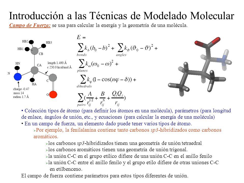Campo de Fuerza: se usa para calcular la energía y la geometría de una molécula. Colección tipos de átomo (para definir los átomos en una molécula), p