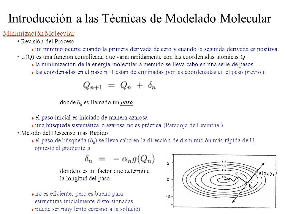 Introducción a las Técnicas de Modelado Molecular Minimización Molecular Revisión del Proceso un mínimo ocurre cuando la primera derivada de cero y cu