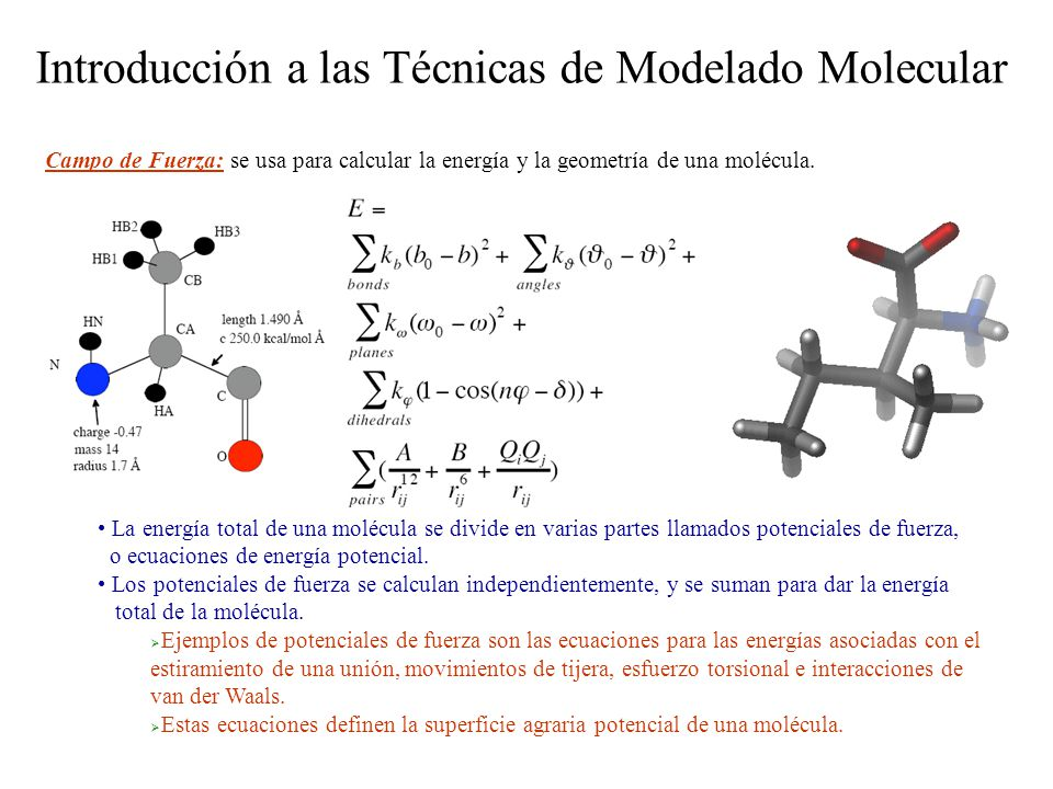 Introducción a las Técnicas de Modelado Molecular Una Forma de Ver la Determinación de la Estructura de una Proteína con RMN es como Una Estructura Modelada de Manera Hibrida Los cálculos de estructura por RMN modifican la función de energía potencial estándar para incluir restricciones experimentales de RMN restricciones en la distancia (NOEs) restricciones en los diedros (NOEs, constante de acoplamiento, desplazamiento químico) desplazamientos químicos ( 1 H, 13 C) constantes de acoplamiento dipolar residual (RDCs) Recientemente, funciones de potencial adicionales se han añadido y que no son restricciones experimentales de RMN pero que se han desarrollado para analizar bases de datos y tendencias estructurales.
