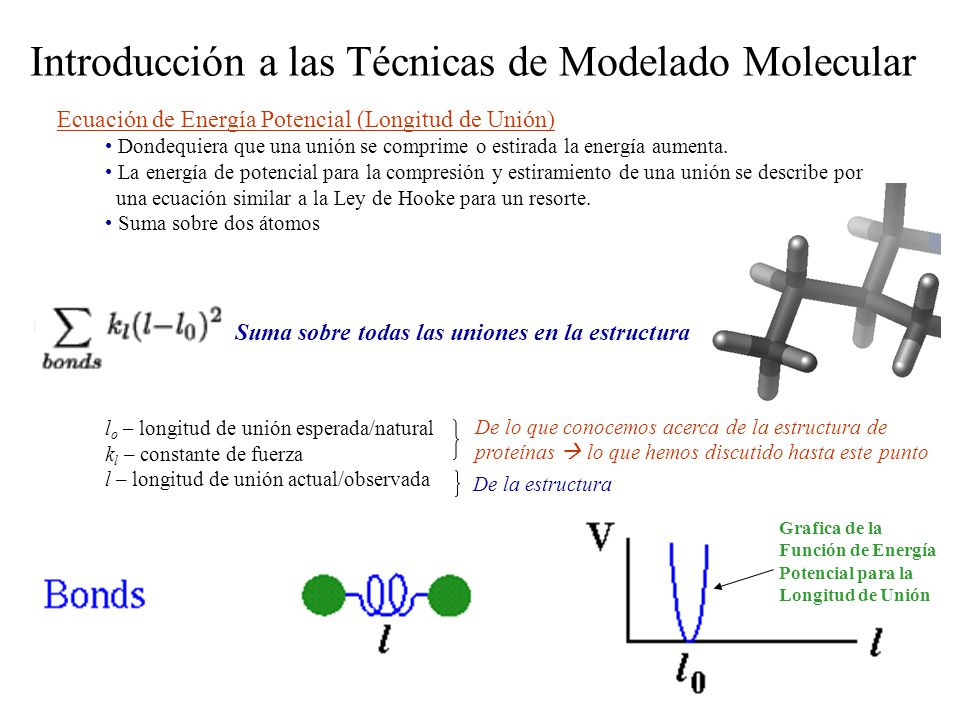 Introducción a las Técnicas de Modelado Molecular Dinámica Molecular (DM) La fuerza F i ejercida en el átomo i por otros átomos en el sistema está dada por el gradiente negativo de la función de energía potencial (V) en turno depende de las coordenadas de todos los N átomos en el sistema Típicamente un paso de tiempo de 1 a 10 fs se usa para sistemas moleculares.