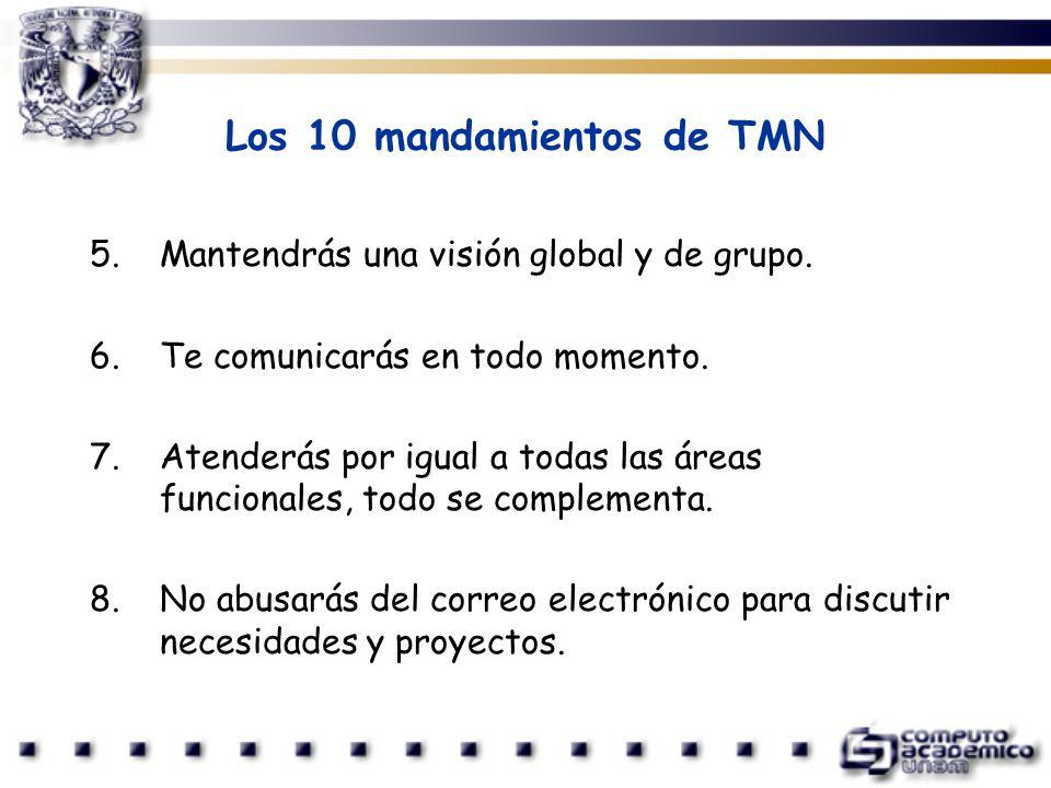 Los 10 mandamientos de TMN 5.Mantendrás una visión global y de grupo. 6.Te comunicarás en todo momento. 7.Atenderás por igual a todas las áreas funcio