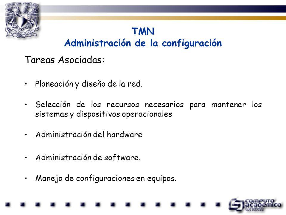 TMN Administración de la configuración Tareas Asociadas: Planeación y diseño de la red. Selección de los recursos necesarios para mantener los sistema