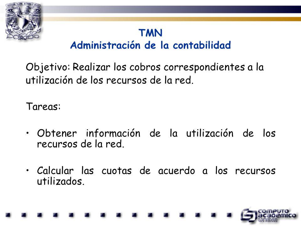 TMN Administración de la contabilidad Objetivo: Realizar los cobros correspondientes a la utilización de los recursos de la red. Tareas: Obtener infor