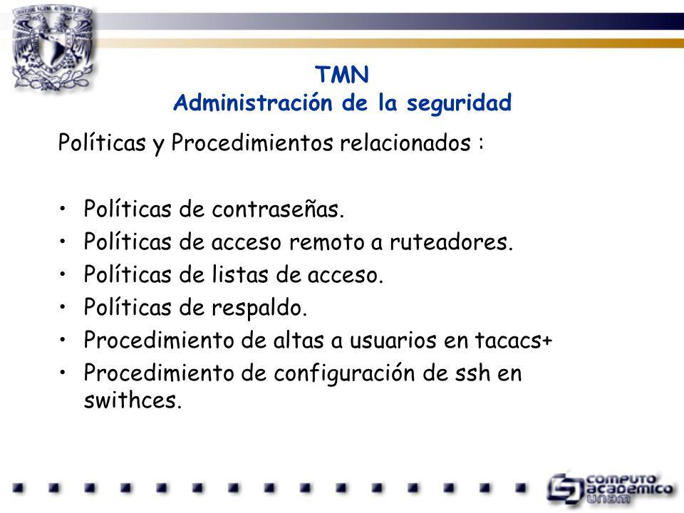 TMN Administración de la seguridad Políticas y Procedimientos relacionados : Políticas de contraseñas. Políticas de acceso remoto a ruteadores. Políti