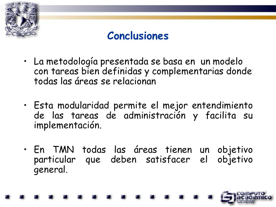 Conclusiones La metodología presentada se basa en un modelo con tareas bien definidas y complementarias donde todas las áreas se relacionan Esta modul