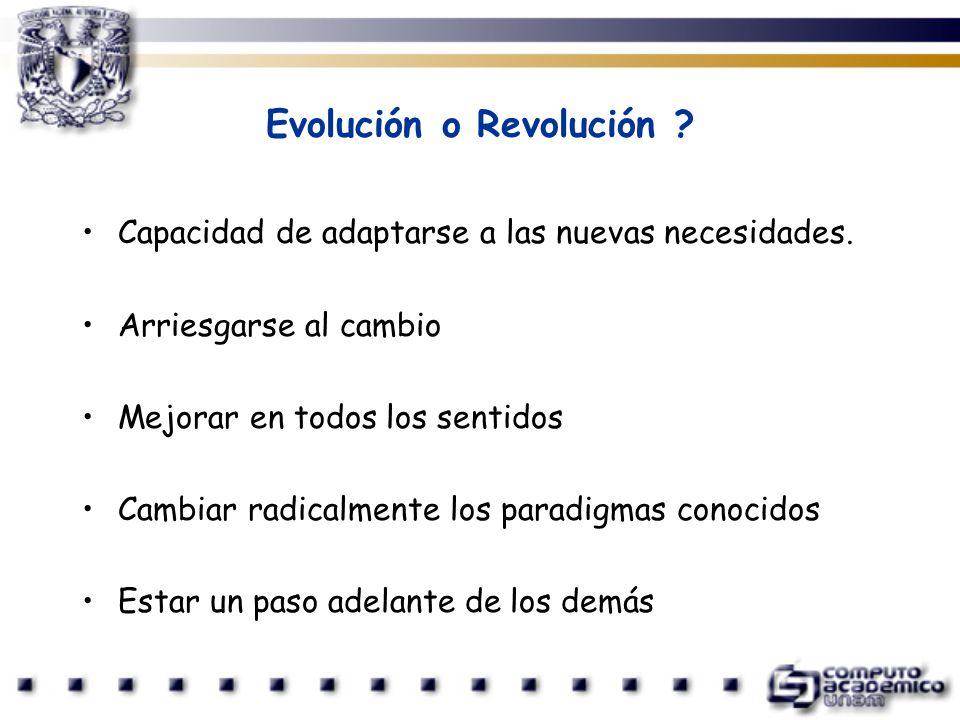 Evolución o Revolución ? Capacidad de adaptarse a las nuevas necesidades. Arriesgarse al cambio Mejorar en todos los sentidos Cambiar radicalmente los