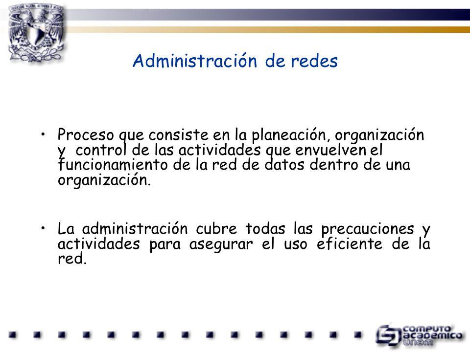 Administración de redes Proceso que consiste en la planeación, organización y control de las actividades que envuelven el funcionamiento de la red de