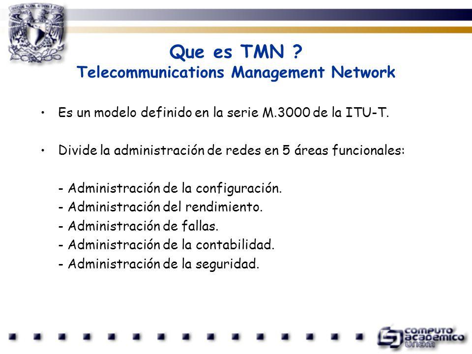 Que es TMN ? Telecommunications Management Network Es un modelo definido en la serie M.3000 de la ITU-T. Divide la administración de redes en 5 áreas