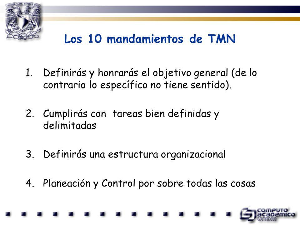 Los 10 mandamientos de TMN 1.Definirás y honrarás el objetivo general (de lo contrario lo específico no tiene sentido). 2.Cumplirás con tareas bien de
