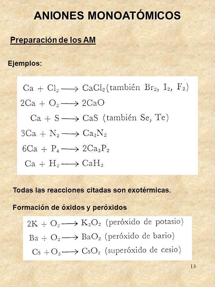 13 ANIONES MONOATÓMICOS Preparación de los AM Ejemplos: Todas las reacciones citadas son exotérmicas. Formación de óxidos y peróxidos