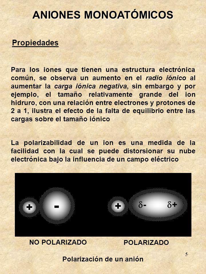 5 ANIONES MONOATÓMICOS Propiedades La polarizabilidad de un ion es una medida de la facilidad con la cual se puede distorsionar su nube electrónica bajo la influencia de un campo eléctrico Para los iones que tienen una estructura electrónica común, se observa un aumento en el radio iónico al aumentar la carga iónica negativa, sin embargo y por ejemplo, el tamaño relativamente grande del ion hidruro, con una relación entre electrones y protones de 2 a 1, ilustra el efecto de la falta de equilibrio entre las cargas sobre el tamaño iónico Polarización de un anión - + + + - NO POLARIZADO POLARIZADO