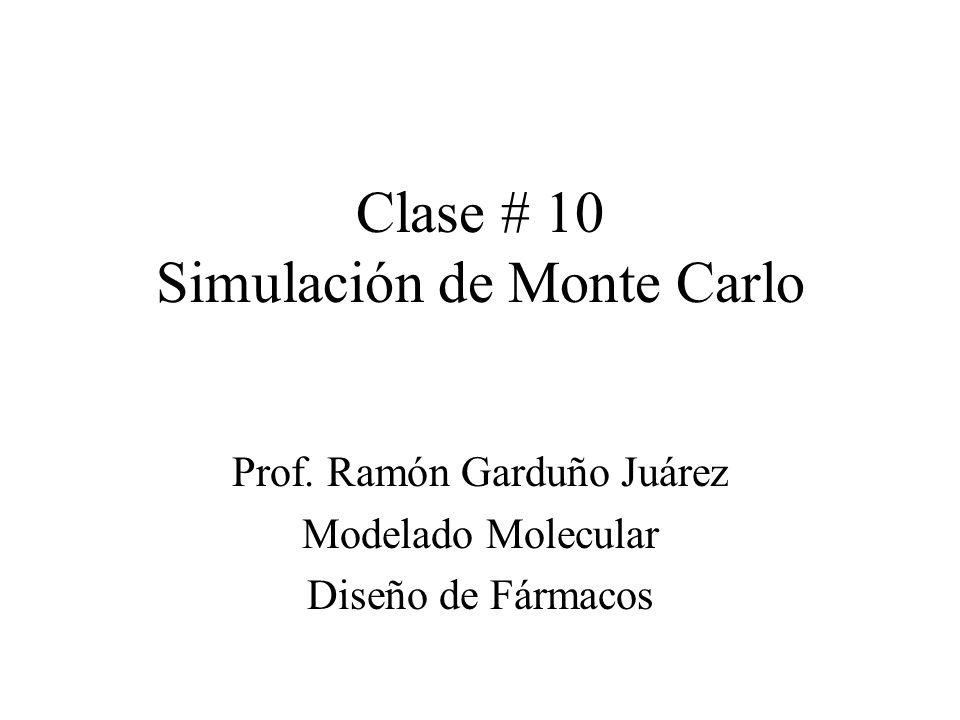 Contorno Introducción Ensamble Canónico Simple Monte Carlo Método de Metrópolis –Cadena de Markov –Implementación –Generación de números aleatorios MC para moléculas –Moléculas Rígidas –Moléculas Flexibles Modelos usados en Polímeros –Modelo Lattice –Modelo Continuo