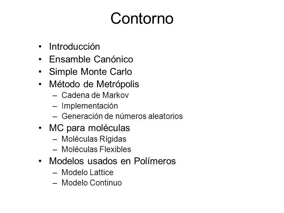 Monte Carlo de moléculas Más difícil que en sistemas atómicos contra uno solamente necesita considerar los grados de libertad de traslación.