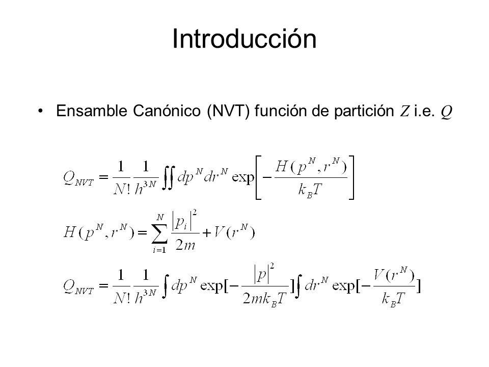 Introducción La separación es posible sólo si la función de potencial V(r N ) no es dependiente de las velocidades (es seguro así suponerlo para casi todas las funciones de potencial comúnmente usadas en biología).