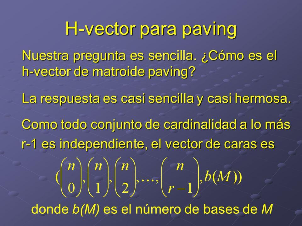 Nuestra pregunta es sencilla.¿Cómo es el h-vector de matroide paving.