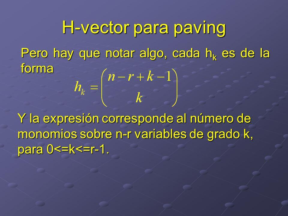 Pero hay que notar algo, cada h k es de la forma H-vector para paving Y la expresión corresponde al número de monomios sobre n-r variables de grado k, para 0<=k<=r-1.