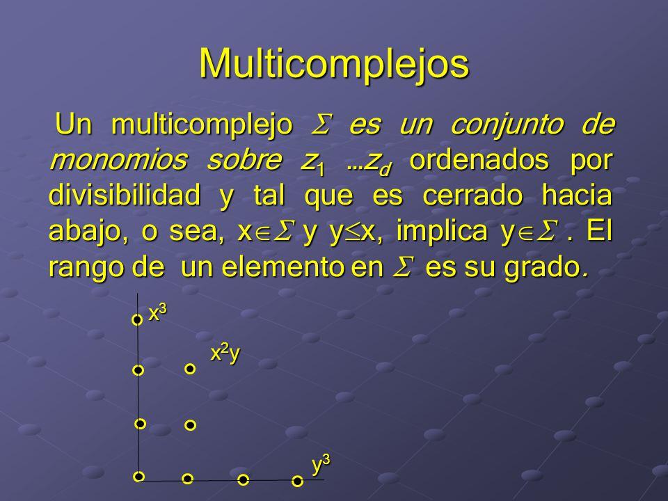 Multicomplejos Un multicomplejo es un conjunto de monomios sobre z 1 …z d ordenados por divisibilidad y tal que es cerrado hacia abajo, o sea, x y y x, implica y.