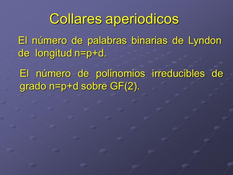 El número de palabras binarias de Lyndon de longitud n=p+d.