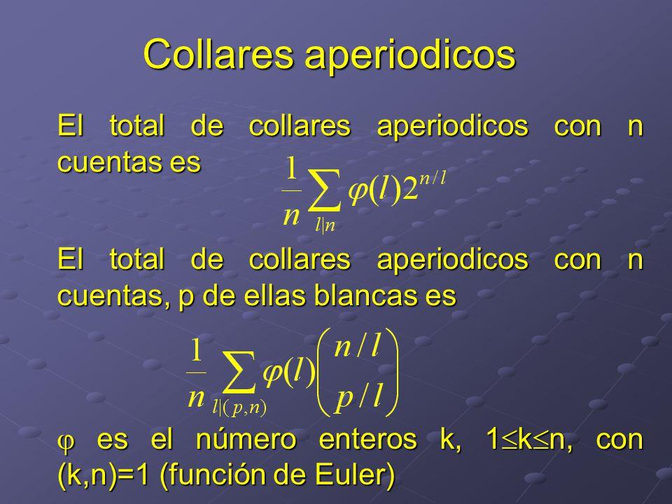 Collares aperiodicos El total de collares aperiodicos con n cuentas es El total de collares aperiodicos con n cuentas, p de ellas blancas es es el número enteros k, 1 k n, con (k,n)=1 (función de Euler) es el número enteros k, 1 k n, con (k,n)=1 (función de Euler)