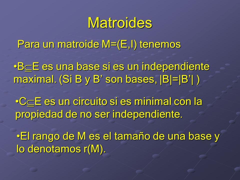 Matroides Para un matroide M=(E,I) tenemos B E es una base si es un independiente maximal.