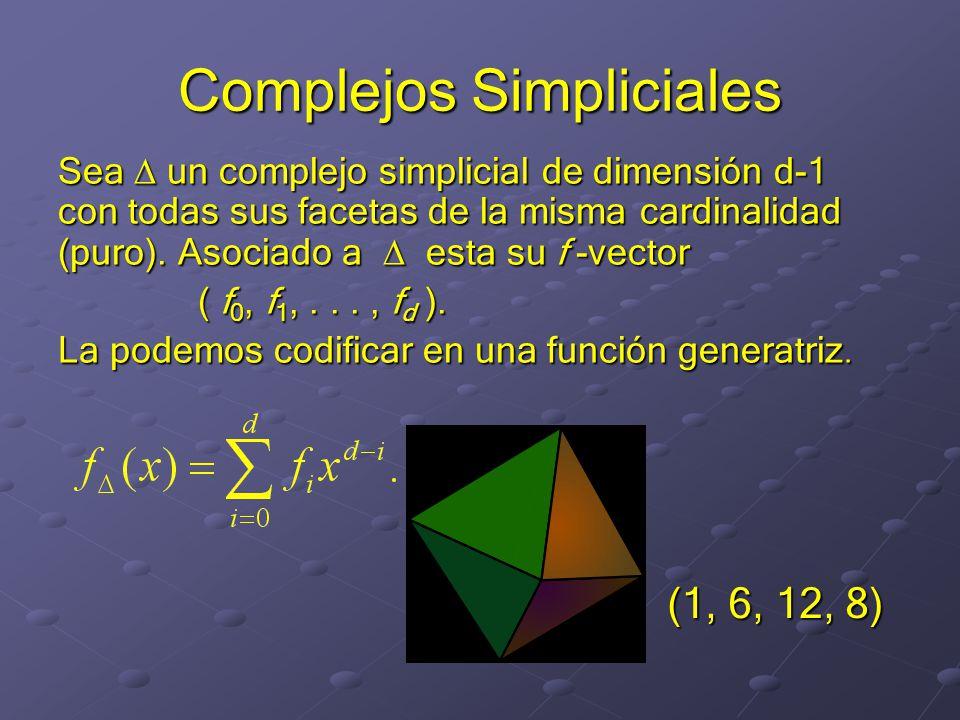 Complejos Simpliciales Sea un complejo simplicial de dimensión d-1 con todas sus facetas de la misma cardinalidad (puro).