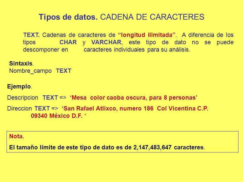 INSERT INTO Sintaxis 1: INSERT INTO Nom_Tabla (Campo1, Campo2, Campo3,…) VALUES (dato1, dato2, dato3,…) INSERT INTO Aspirantes (IDAspirante, Nombre, Experiencia) VALUES (2025, Karla, Ibope Administador de proyectos) ; Ejemplo 1: Suponiendo que tenemos la declaración de una tabla como la siguiente: CREATE TABLE Aspirantes (IdAspirante INT NOT NULL, Nombre VARCHAR (35) NOT NULL, Experiencia TEXT NULL);