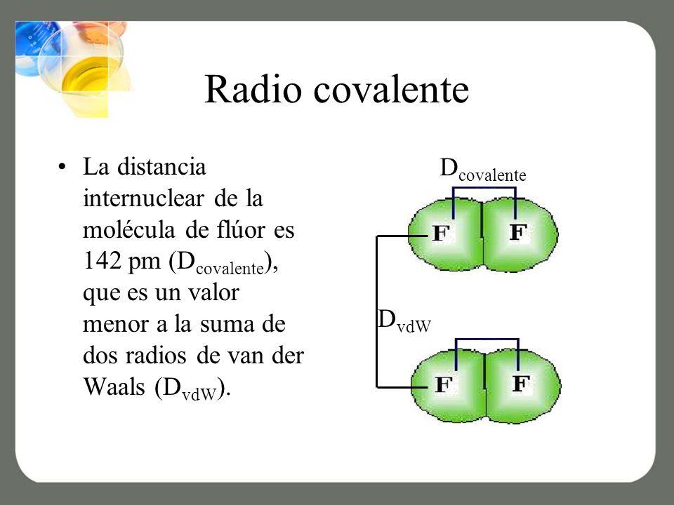 Radio covalente La distancia internuclear de la molécula de flúor es 142 pm (D covalente ), que es un valor menor a la suma de dos radios de van der Waals (D vdW ).