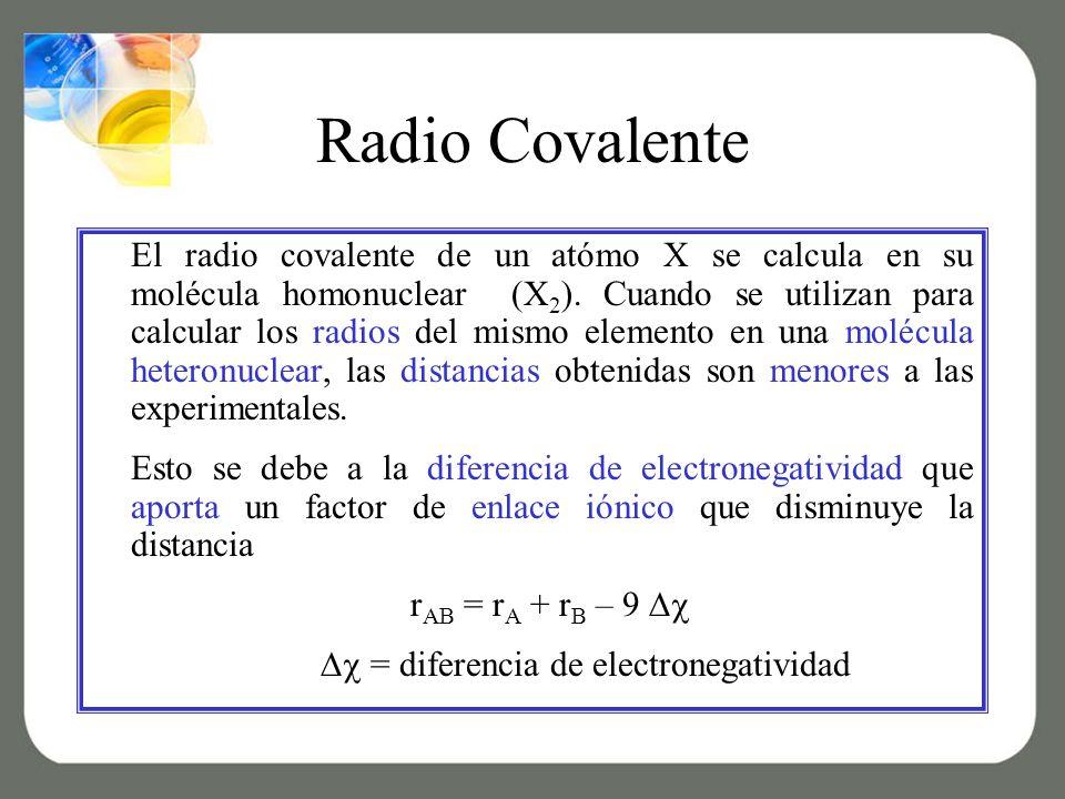 Radio Covalente El radio covalente de un atómo X se calcula en su molécula homonuclear (X 2 ).