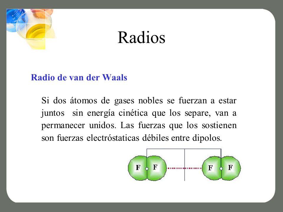 Radios Radio de van der Waals Si dos átomos de gases nobles se fuerzan a estar juntos sin energía cinética que los separe, van a permanecer unidos.