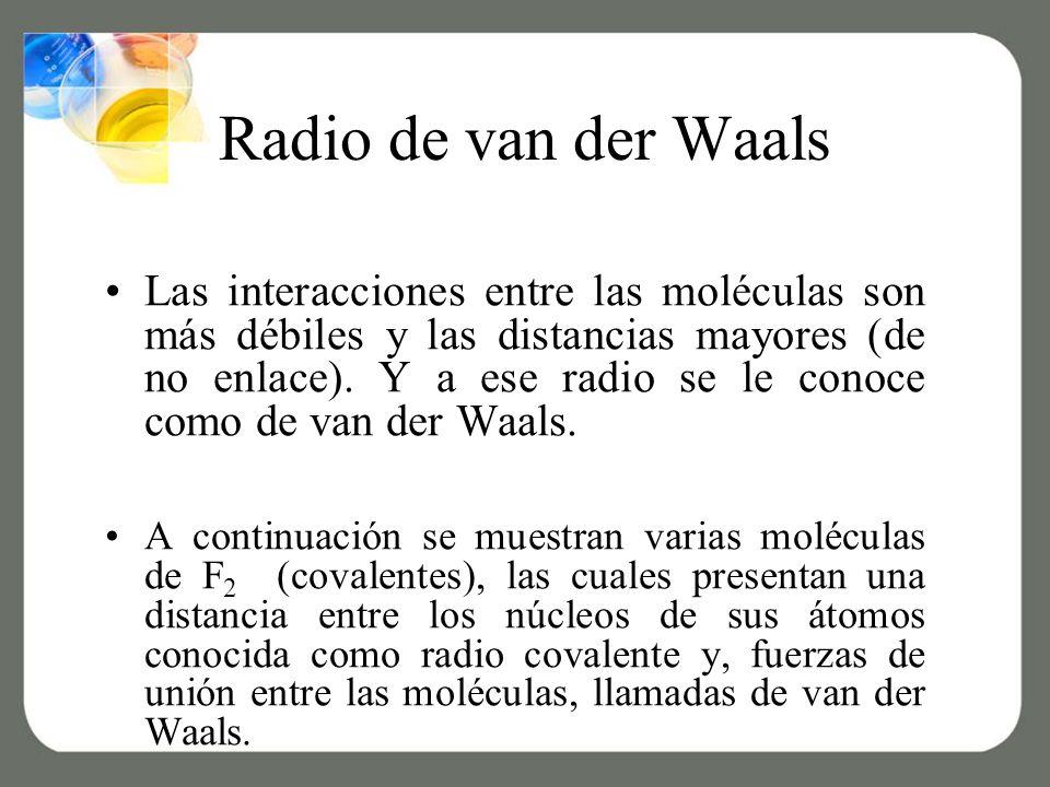 Radio de van der Waals Las interacciones entre las moléculas son más débiles y las distancias mayores (de no enlace).