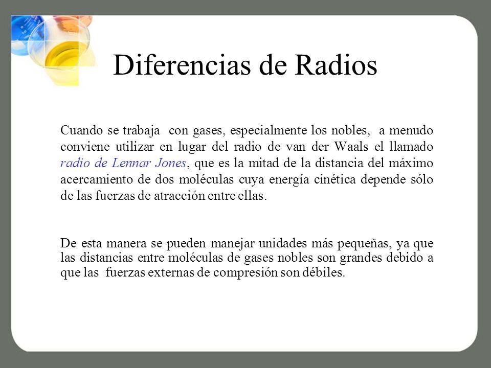 Diferencias de Radios Cuando se trabaja con gases, especialmente los nobles, a menudo conviene utilizar en lugar del radio de van der Waals el llamado radio de Lennar Jones, que es la mitad de la distancia del máximo acercamiento de dos moléculas cuya energía cinética depende sólo de las fuerzas de atracción entre ellas.
