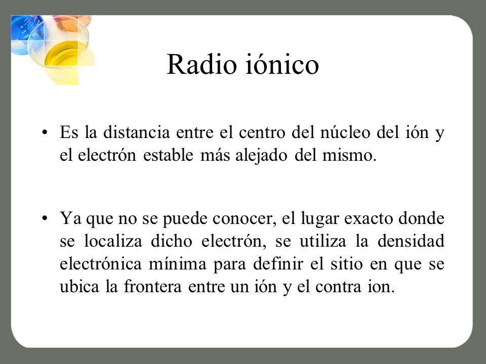 Radio iónico Es la distancia entre el centro del núcleo del ión y el electrón estable más alejado del mismo.