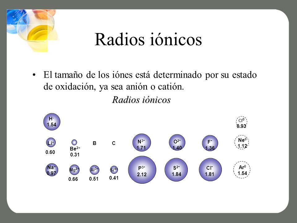Radios iónicos El tamaño de los iónes está determinado por su estado de oxidación, ya sea anión o catión.