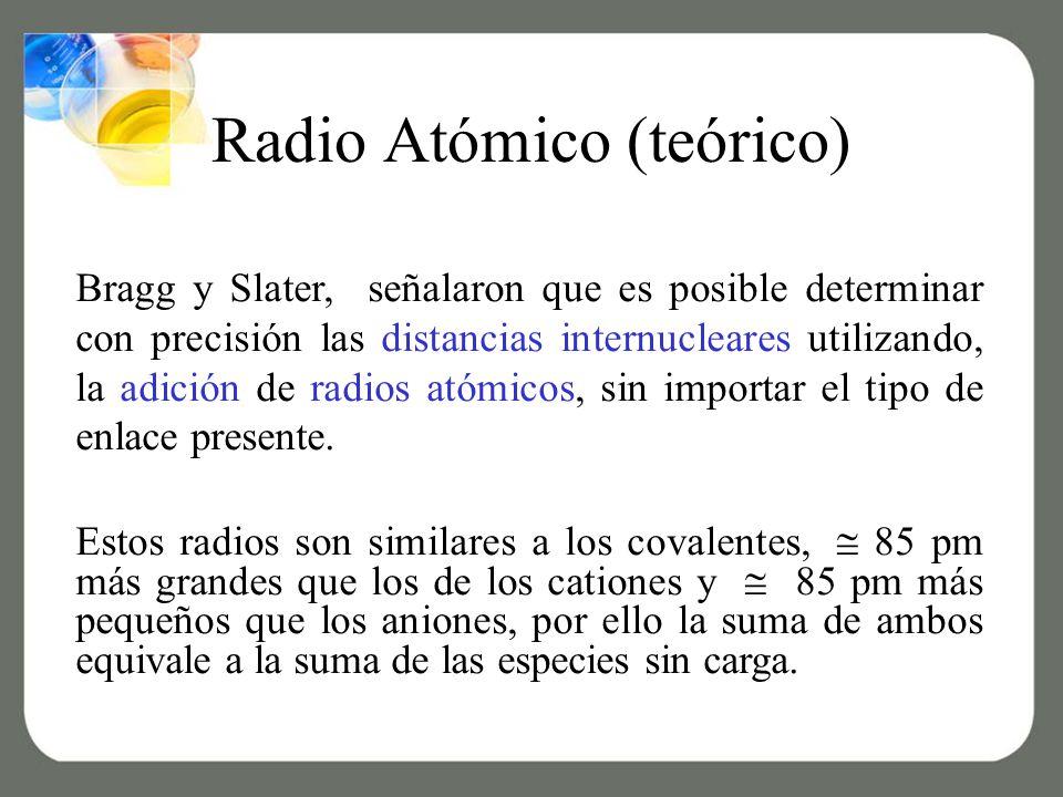 Radio Atómico (teórico) Bragg y Slater, señalaron que es posible determinar con precisión las distancias internucleares utilizando, la adición de radios atómicos, sin importar el tipo de enlace presente.
